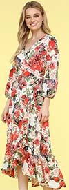KarenT-9003-Floral - Womens Wrap Style Dress With Rufffle Trims