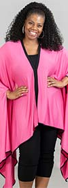 KarenT-9006T-PinkBlack - Womens Poncho Tunic Top With Black Trim