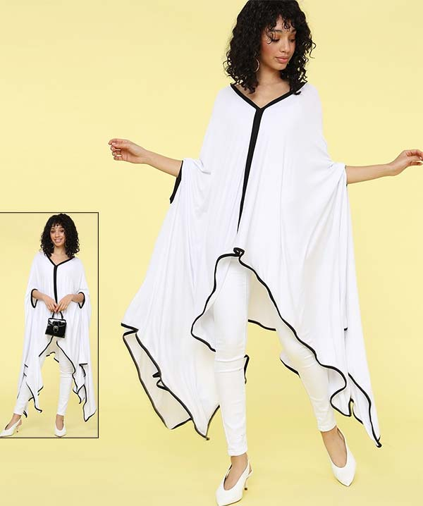 KarenT-9006T-WhiteBlack - Womens Poncho Tunic Top With Black Trim