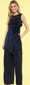 KarenT-9009J-Navy - Sleeveless Womens Jumpsuit With Large Bow Accent