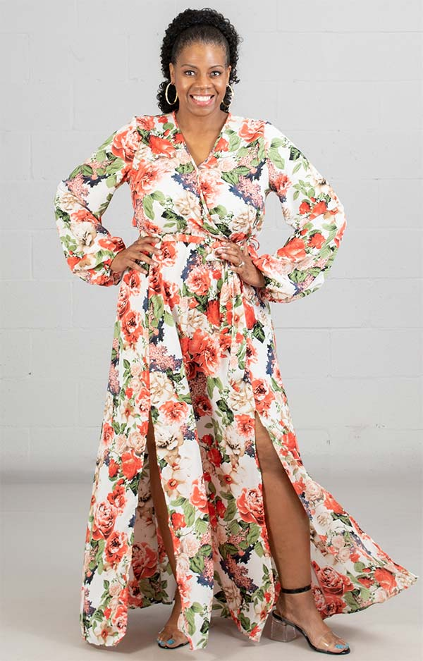 KarenT-9013 - Ladies Floral Print Maxi (Long) Dress With Side Slits And Gathered Sleeve Cuffs