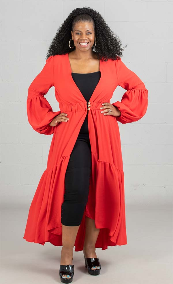 KarenT-9015S - Womens Duster With Pleated Design And Gathered Cuff Sleeves