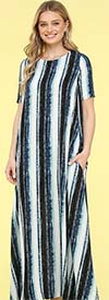 KarenT-9022-Blue - Womens Short Sleeve Long (Maxi) Dress With Pockets In Multi Stripe Print
