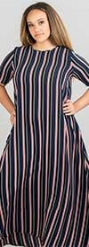 KarenT-9022-Navy - Womens Short Sleeve Long (Maxi) Dress In Multi Stripe Print