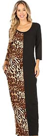 KarenT-9043-Animal - Print And Solid Color Maxi Dress