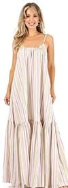 KarenT-4003 - Strappy Style Maxi Dress In Striped Print Design