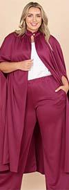 KarenT-4010-Magenta - Womens Long Duster Jacket And Pant Set In Print Design