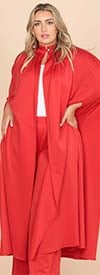 KarenT-4010-Red - Womens Long Duster Jacket And Pant Set In Print Design