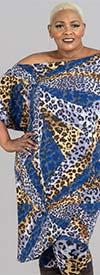 KarenT-4011-Blue Cheetah - Womens Animal Print Pant Set With Tilted Hem Design Top