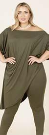 KarenT-4011-Olive - Womens Pant Set With Tilted Hem Design Top