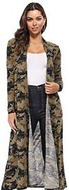 KarenT-5021R-Dark-Camo - Camouflage Print Womens Knit Duster Jacket