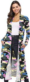 KarenT-5021R-Multi-Camo - Camouflage Print Womens Knit Duster Jacket