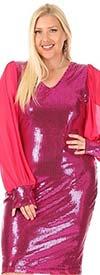 KarenT-5136 - Pink Sequin Dress With Long Sheer Sleeve Chiffon Design