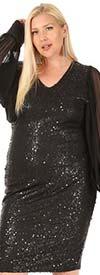 KarenT-5136 - Black Sequin Dress With Long Sheer Sleeve Chiffon Design