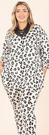 KarenT-5149P-Animal - Womens Printed Top And Pant Set With Pockets