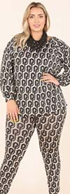 KarenT-5149P-Black-Gray - Womens Camouflage Printed Top And Pant Set With Pockets