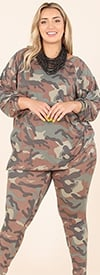 KarenT-5149P-Camo - Womens Camouflage Printed Top And Pant Set With Pockets