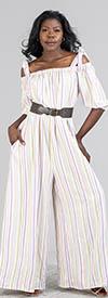 KarenT-9005-Purple Stripe - Womens Wide Leg Jumpsuit In Vertical Stripe Design With Pockets And Optional Shoulder Straps