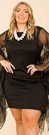 KarenT-9095 - Ladies Black Dress With Long Sheer Sleeve Design