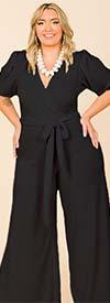 KarenT-9101-Black - Surplice Neckline Short Puff Sleeve Ladies Print Jumpsuit With Sash