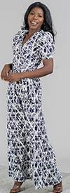 KarenT-9101-Navy/White - Surplice Neckline Short Puff Sleeve Ladies Print Jumpsuit With Sash