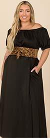 KarenT-9103P-Black - Puff Sleeve Womens Maxi Dress With Off Shoulder Neckline Design