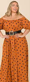 KarenT-9103P-Brick / Black - Puff Sleeve Womens Maxi Dress With Off Shoulder Neckline Design