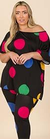 KarenT-9123-Black/Dot - Short Sleeve Womens Top And Legging Set