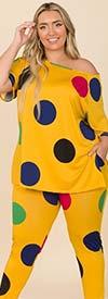 KarenT-9123-Yellow/Dot - Short Sleeve Womens Top And Legging Set