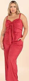 KarenT-9124-Red - Womens Tie-Front Strappy Style Jumpsuit With Pockets