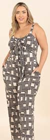 KarenT-9124-Taupe-Black - Womens Tie-Front Strappy Style Jumpsuit With Pockets