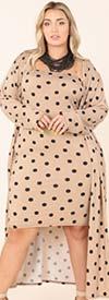 KarenT-9127 - Womens Spaghetti Strap Polka-Dot Dress With Duster Jacket