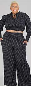KarenT-9131-Black - Womens Polka-Dot Pant Set With Smocked Crop Top Design