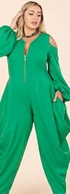 KarenT- 9142-Green - Womens Cold Shoulder Peasant Sleeve Style Jumpsuit With Zipper Front
