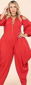 KarenT- 9142-Red - Womens Cold Shoulder Peasant Sleeve Style Jumpsuit With Zipper Front