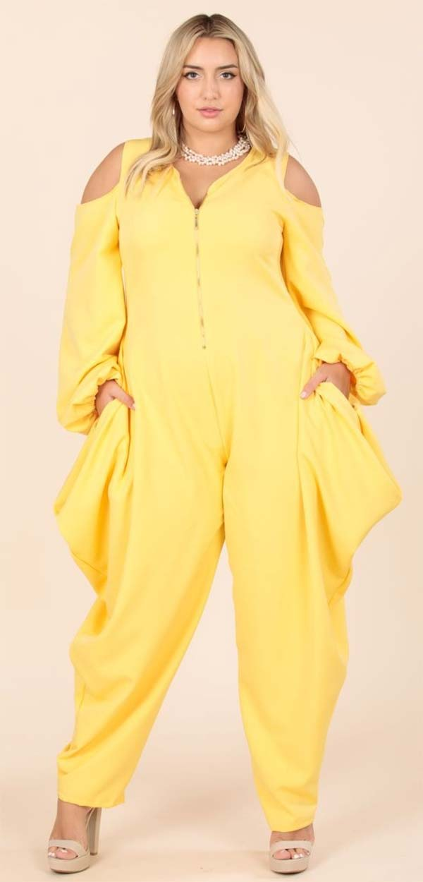 KarenT- 9142-Yellow - Womens Cold Shoulder Peasant Sleeve Style Jumpsuit With Zipper Front
