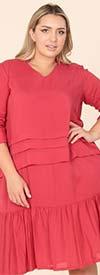 KarenT-9150-Red - Ruffle Tiered Design Ladies Dress