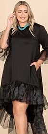 KarenT-9163-Black - Ruffle Trimmed Ladies High-Low Style Dress