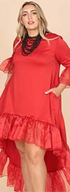 KarenT-9163-Red - Ruffle Trimmed Ladies High-Low Style Dress