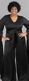 KarenT- 9168-Black - Womens Extended Split Sleeve Style Wide Leg Belted Jumpsuit