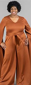 KarenT- 9168-Rust - Womens Extended Split Sleeve Style Wide Leg Belted Jumpsuit