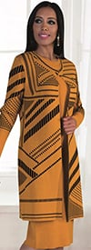 Kayla 5147 Knit Long Sleeve Dress Suit With Three Quarter Length Sleeve Printed Jacket