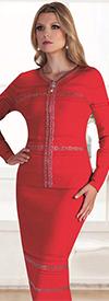 Kayla 5178 Rhinestone Embellished Textured Knit Skirt Suit