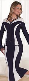 Kayla 5192 Rhinestone And Two Tone Design Knit Skirt Suit