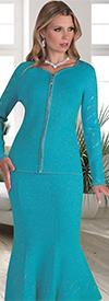 Kayla 5194 Rhinestone Design Knit Mermaid Skirt Suit With Sweetheart Neckline