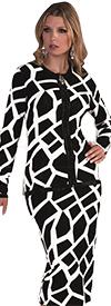 Kayla 5196 Rhinestone Embellished Knit Skirt Suit With Giraffe Print Design