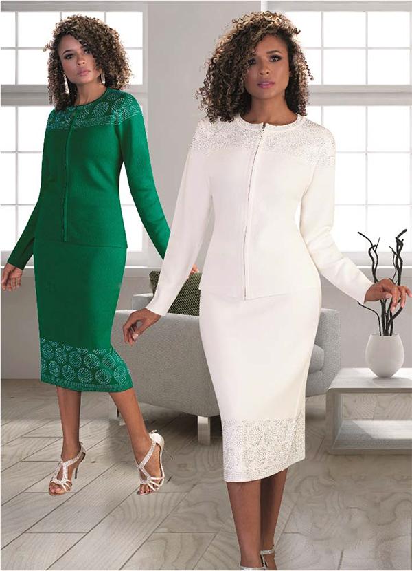 Kayla 5197 Rhinestone Circular Design Knit Skirt Set