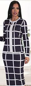 Kayla 5198 Womens Two Piece Windowpane Pattern Knit Suit