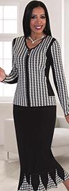 Kayla 5199 Houndstooth Pattern Godet Pleat Mermaid Knit Skirt Suit