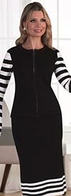 Kayla 5200-BlackWhite Striped Bell Sleeve Skirt Set With Rhinestone Details